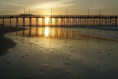 Sea Shells Digital Art - Sunrise At The Jolly Roger Pier by Mike McGlothlen
