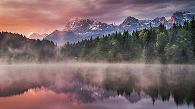 Sunrise At The Lake Print by Andreas Wonisch