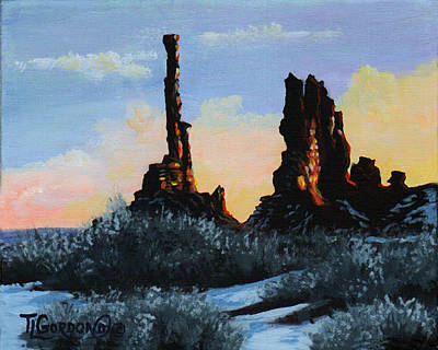 Totem Pole Painting - Sunrise At The Totem Pole Monument Valley by Timithy L Gordon