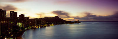 Sunrise At Waikiki Beach Honolulu Hi Usa Print by Panoramic Images