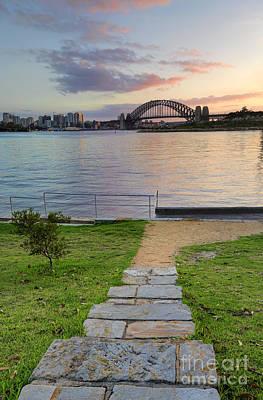 Sunrise Behind Sydney Harbour Bridge From Balmain Print by Leah-Anne Thompson