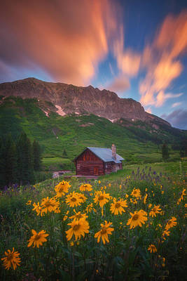 Sunrise Cabin Print by Darren  White