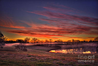 Misty Morning Other Worldly Sunrise Print by Reid Callaway