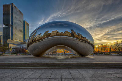 Chicago Skyline Photograph - Sunrise Cloud Gate by Sebastian Musial