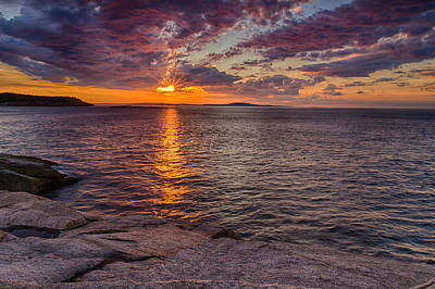 Sunrise Drama Acadia National Park Print by Jeff Sinon