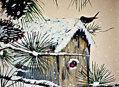 Winter Scene Painting - Sunrise Feeding by Chastity Hoff