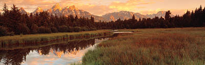 Wetlands Photograph - Sunrise Grand Teton National Park by Panoramic Images