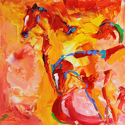 Painting - Sunrise Graze Horse 25 2014 by Laurie Pace