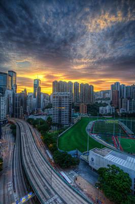 Sunrise In Hong Kong Print by Mike Lee