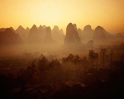 Rooftop Photograph - Sunrise In Mountains Guilin China by Panoramic Images