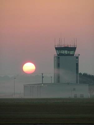 Sunrise In The Fog At East Texas Regional Airport Print by Phil Rispin