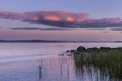 Sunrise Lake Champlain Shore Vermont Clouds Print by Andy Gimino