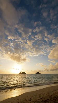 Sunrise, Lanikai Beach, Mokulua Print by Douglas Peebles