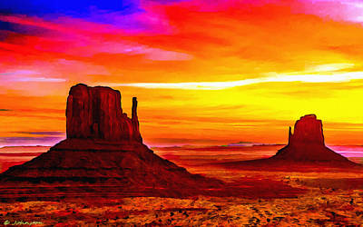 Hematite Painting - Sunrise Monument Valley Mittens by Bob and Nadine Johnston