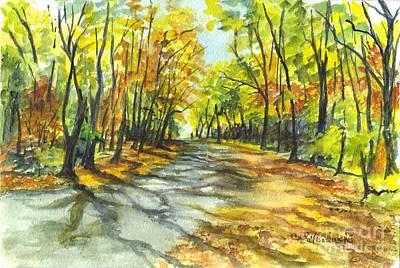 Walkway Drawing - Sunrise On A Shady Autumn Lane by Carol Wisniewski