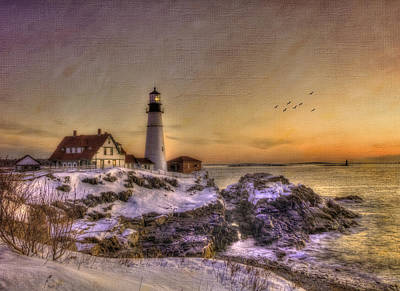 Winter In New England Photograph - Sunrise On Cape Elizabeth - Portland Head Light - New England Lighthouses by Joann Vitali