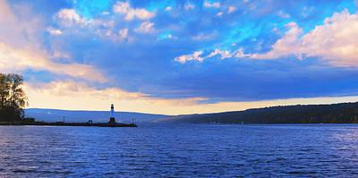 Sunrise On Cayuga Lake Ithaca New York Panoramic Photography Print by Paul Ge