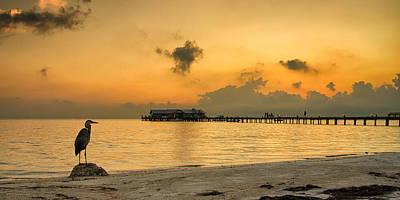 Sunrise On City Pier Print by Darylann Leonard Photography