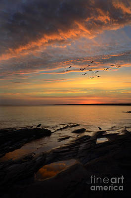 Sunrise On Lake Superior Print by Jill Battaglia