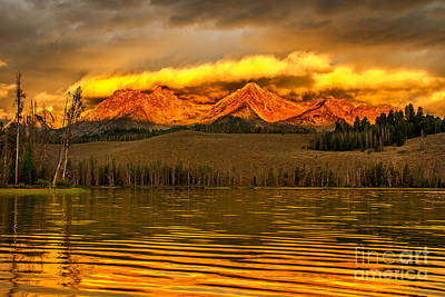 Haybale Photograph - Sunrise On Little Redfish Lake by Robert Bales