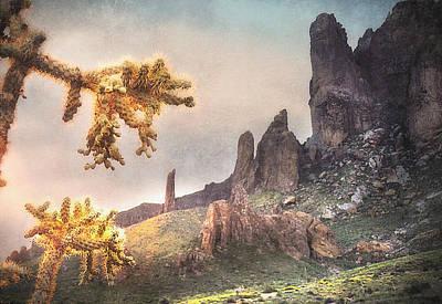 Burning Bush Digital Art - Sunrise On Superstitions by Barbara D Richards