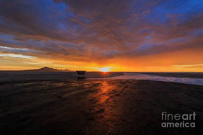 Sunrise On The Bonneville Salt Flats Print by Holly Martin