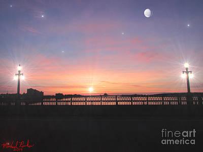 Sunrise On The Bridge Print by Michael Rucker