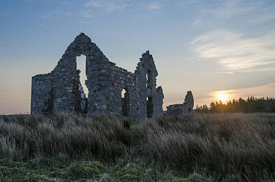 Irish Photograph - Sunrise On The Ruins Of Lough Easkie Hunting Lodge by Bill Cannon