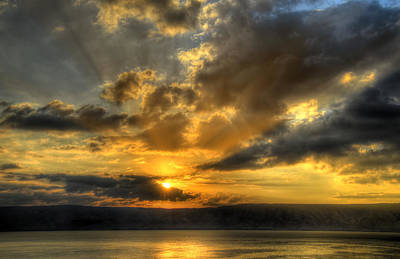 Sunrise On The Sea Of Galilee Print by Ken Smith