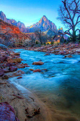 Sunrise On The Virgin River Print by Laura Palmer