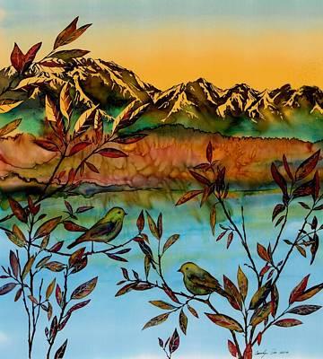 Sunrise On Willows Print by Carolyn Doe