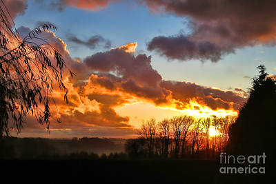 Sunrise Over Countryside Print by Olivier Le Queinec