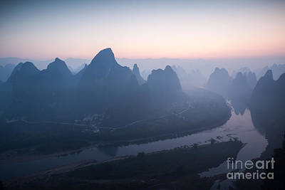Sunrise Over Li River In China Print by Matteo Colombo