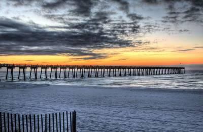 Sunrise Over Pensacola Beach Pier Print by JC Findley
