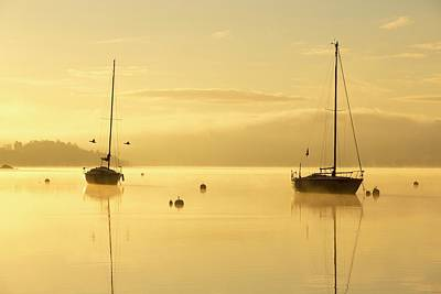 Sunrise Over Sailing Boats Print by Ashley Cooper