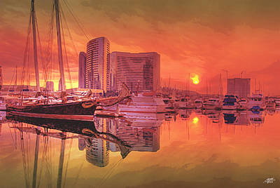 Sunrise Over San Diego Print by Steve Huang