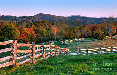 Deep Blue Photograph - Sunrise Pastures - Blue Ridge Parkway by Dan Carmichael