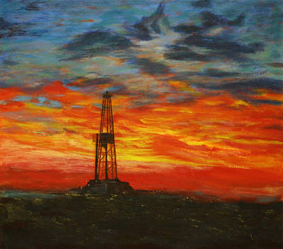 Sunrise Oil Painting - Sunrise Rig by Karen  Peterson
