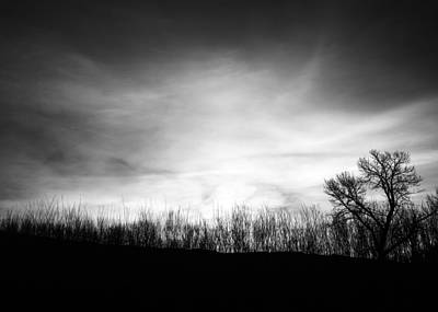 Sunrise Silhouette In Black And White Print by Vishwanath Bhat