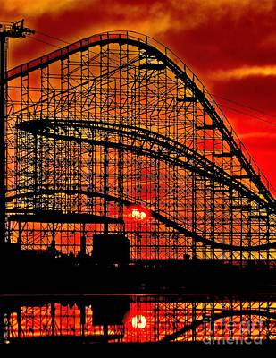 Rollercoaster Photograph - Sunrise Thru The Coaster by Nick Zelinsky