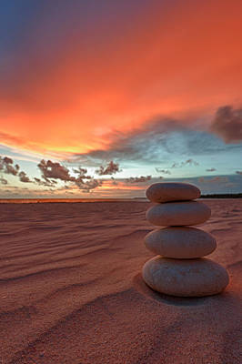 Pebble Photograph - Sunrise Zen by Sebastian Musial
