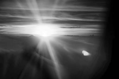 Miraculous Drawing - Sunset Above The Clouds In Bw Black White by PhotoArtist PhotoArtist