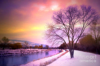 Sunset Along The River Channel Print by Tara Turner