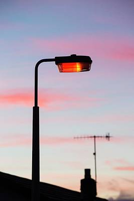 Sunset And A Street Light In Ambleside Print by Ashley Cooper