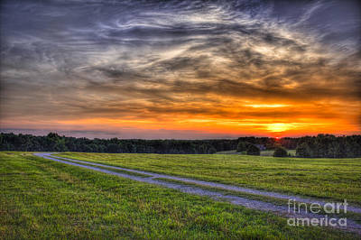 Sunset And The Road Home Print by Reid Callaway