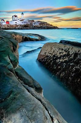 Sunset At Cape Neddick Light- Maine Print by Thomas Schoeller