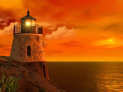 Beautiful Lighthouses Photograph - Sunset At Castle Hill by Lourry Legarde