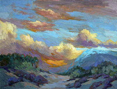 Verbena Painting - Sunset At Coachella Valley by Diane McClary
