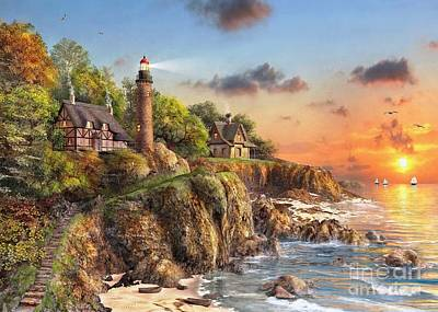 New England Lighthouse Digital Art - Sunset At Craggy Point by MGL Meiklejohn Graphics Licensing