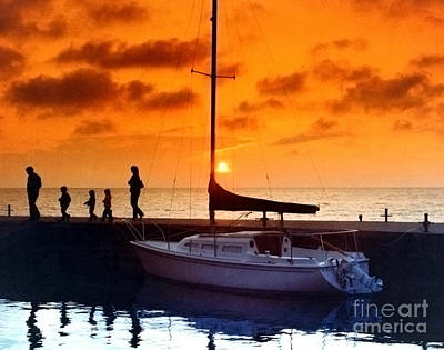 Sunset At Egg Harbor Dock Wisconsin Print by ImagesAsArt Photos And Graphics